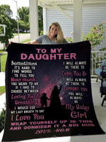 To My Daughter - Sometimes It's Hard to Find Word Pink Purple Galaxy Quilt Blanket #DH