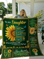 To My Daughter, You Are My Sunshine, Sunflower, Love Mom Quilt Blanket #DH