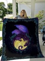 Dragon Of The Moon Mandala Quilt Blanket #DH