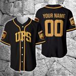 Custom name and number UPS parcel service brown black Baseball Jersey