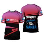 Delivering more packages than Santa USPS postal worker pink black unisex t-shirt 3d #191021l