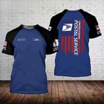 Custom name USPS postal worker American flag unisex t-shirt 3d #211021h