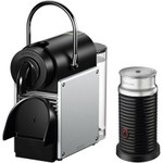 Nespresso by De'Longhi Pixie Single-Serve Espresso Machine with Simplified Water Tank in Aluminum and Aeroccino Milk Frother in Black