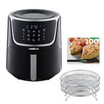 GoWISE USA Electric Air Fryer with Dehydrator - Black/Silver