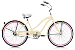 """Micargi ROVER GX 26"""" Beach Cruiser Coaster Brake Single Speed Stainless Steel Spokes One Piece Crank Alloy Pink Rims 36H With Fenders Color: Vanilla/ Pink Rim"""
