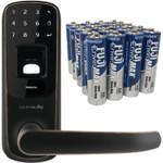 Ultraloq UL3 Bluetooth-Enabled Fingerprint & Touchscreen Smart Lock (Aged Bronze) & Fuji Batteries 3300BP20 EnviroMax AA Extra Heavy-Duty Batteries (20 pk)
