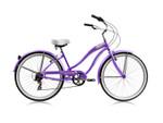 Wonder Wheels Beach Cruiser Shimano Tx-35 7 Speed Bicycle, Bike, V-Brake Stainless Steel Spokes One Piece Crank Alloy Purple Rims 36 H With Fender - Purple