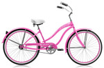 """Micargi ROVER GX 26"""" Beach Cruiser Coaster Brake Single Speed Stainless Steel Spokes One Piece Crank Alloy Pink Rims 36H With Fenders Color: Pink/ Pink Rim"""