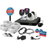 Swann 4 Channel 4 Camera 1080p HD DVR Security System with Yard Stake, 2 Enforcer Bullet Cameras w/ Red & Blue Warning Lights and 2 Dome Cameras, Wired Surveillance - SODVK-446802SL2DY-US