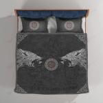 Viking Iceland Fenrir Wolf and Vegvisir Quilt Set - Bedding Set