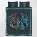 Viking - Ravens of Midgard Blue Quilt Set - Bedding Set