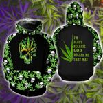 Weed Leaf Skull, I'm Blunt Because God Rolled Me That Way 3D Zip Hoodie