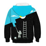 Galaxy Astronaut Painting Stair to the Moon 3D All Over Print Hoodie