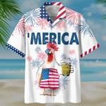 Chicken Drink Beer 4th July Hawaiian Shirt