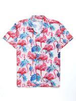 Flamingo Tropical Leaves Hawaiian Shirt