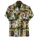 Welsh Corgi Tropical Leaves Hawaiian Shirt