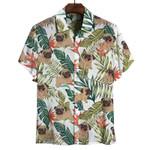 Pug Tropical Leaves Hawaiian Shirt