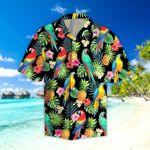 Parrots & Pineapple Tropical Leaves Hawaiian Shirt