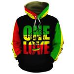 African American Reggae One Love 3D All Over Print Hoodie