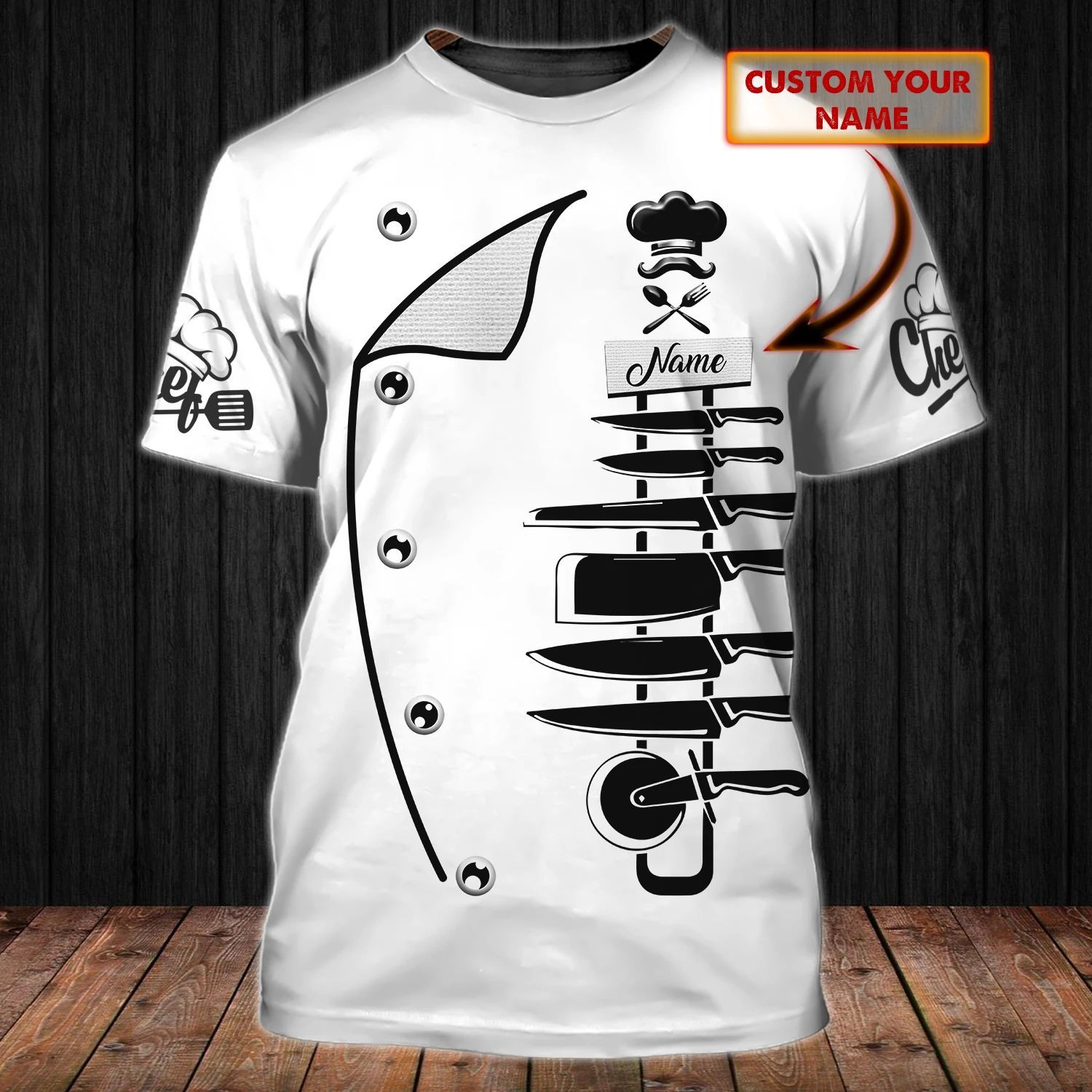 CHEF Costume Cosplay Personalized Name 3D All Over Print T-Shirt