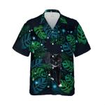 Floral Tropical Black Cat Hawaiian Shirt