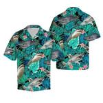 Shark tropical hawaiian button shirt