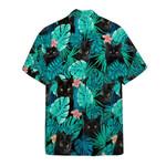 Black Cat Floral Tropical Hawaiian Shirt