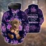 Rose Purple & Pitpull A Girl And Her Pitbull A Bond Can't Broken 3D All Over Print Hoodie