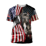 Pit Bull Terrier American Flag 3D All Over Print Shirt