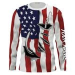 US fishing fish hook american flag 3d all over print shirt