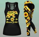 Mama Bear Sunflower Hollow Tank Top - Legging 3D All Over Print
