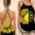 Softball Sunflower Criss Cross Open Back Tank Top