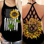 Sunflower & USA Flag Cross Back Tank Custom Mom/Mimi Nick name & Custom Year