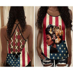 African American Girl USA Flag All Over Printed CrissCross Tank Top