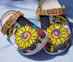 Hippies only sunflower unisex clog shoes for mens and womens