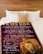Personalized To My Dad My Greatest Hero From Daughter Lion Fleece Blanket