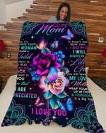 To My Mom I Love You   Butterfly & Rose - Fleece Blanket