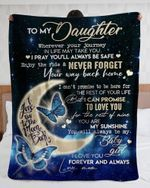 Personalized To My Daughter Love You To The Moon And Back From Mom Butterfly - Fleece Blanket