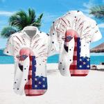 Flamingo USA Flag Hawaiian Shirt