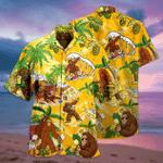 Bigfoot Surfing & Drink Beer Tropical Hawaiian Shirt