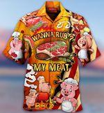 Wanna Rub My Meat Funny Pig Barbecue Hawaiian Aloha shirt