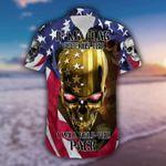 If My Flag Offends You Gold Skull American Flag Hawaiian Shirt