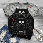 Cute Cats Black Cats 3D Unisex T-Shirt