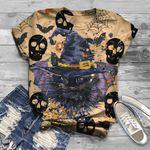 Cute Cat Halloween Cat 3D Unisex T-Shirt
