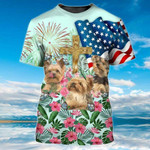 Tropical Yorkshire Dog American Flag Christian T-Shirt 3d All Over Printed