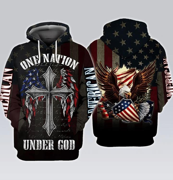 One Nation Under God Eagle USA Flag 3D Hoodie All Over Print