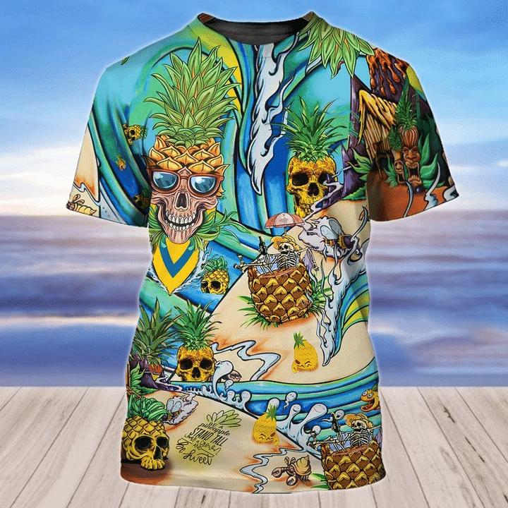 Pineapple Skulls Beach 3D Hoodie All Over Print