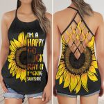 I'm A Happy Go Lucky Ray Of Fu*king Sunshine Sunflower Criss Cross Tank Top