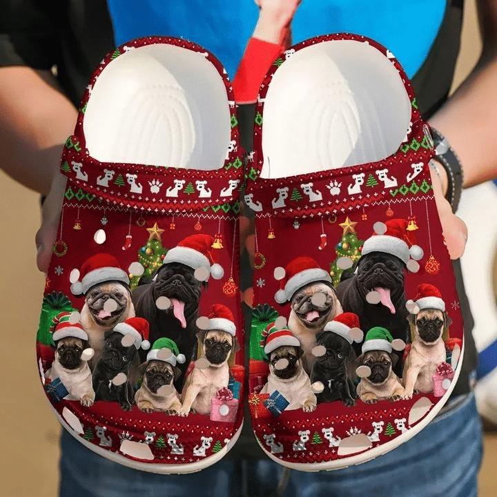 Pug Merry Christmas Pattern Unisex Clog Shoes