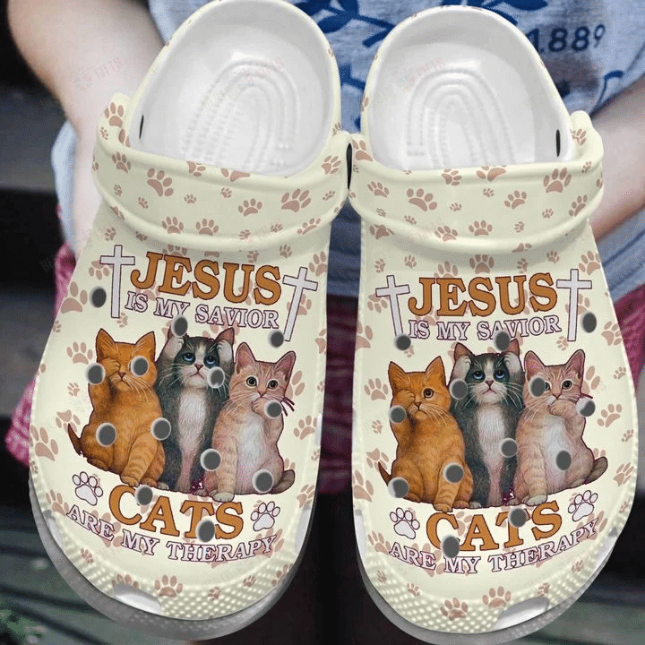 Cat Clog Shoes, Jesus Is My Savior Cat Are My Therapy Unisex Clog Shoes
